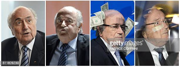This combo made on February 23 2016 shows four files pictures of suspended FIFA President Sepp Blatter answering during an interview on May 15 2015...