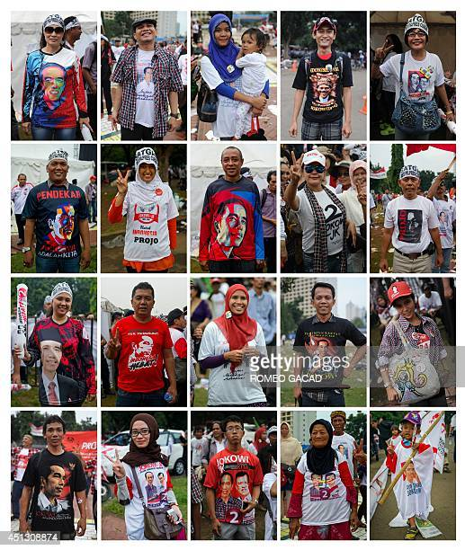 This combo of 20 photographs shows the wide social range of Indonesian supporters of presidential candidate Joko Widodo taken during June 26 2014...