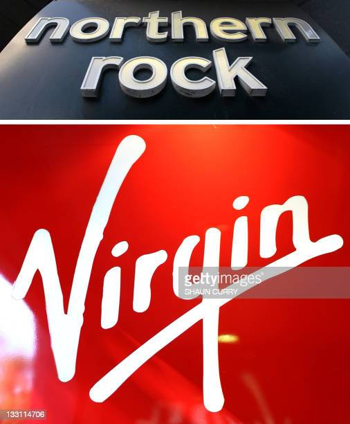 This combo of file pictures created on November 17 2011 shows the logo of Northern Rock bank on a branch in London taken on February 18 2008 and the...