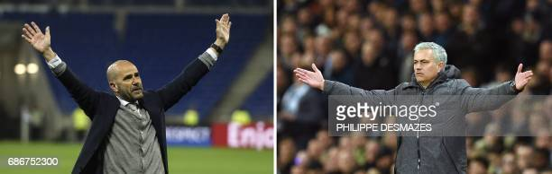 This combo of photos made on May 22 2017 shows Ajax' Dutch head coach Peter Bosz celebrating with supporters after winning the UEFA Europa League...
