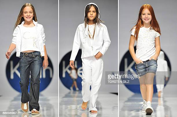 This combo of photos shows children presenting fashion of the label 'Calvin Klein' on June 26 2009 in Florence Italy during the 'Pitti Immagine...
