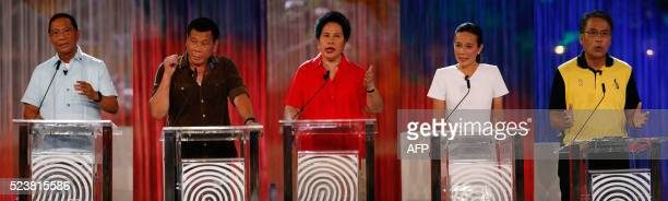 This combo of pictures shows Philippines' VicePresident Jejomar Binay Mayor Rodrigo Duterte Senator Miriam Santiago Senator Grace Poe and former...