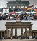 This combo of two photos shows on People from East and West Germany gathering for the opening of the Brandenburg Gate in Berlin on December 22 1989...