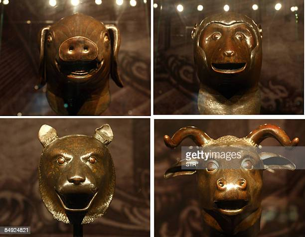This combo photo of the four 18th century Qing dynasty bronze fountainheads the Pig the Monkey the Buffalo and the Tiger owned by China's Poly Group...