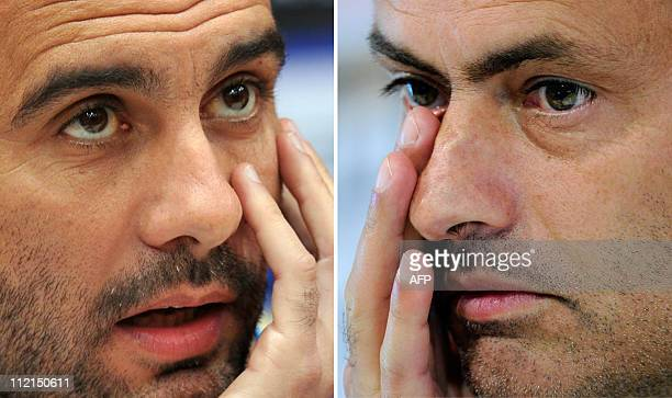 This combo picture made on April 13 2011 shows Barcelona's coach Josep Guardiola giving a press conference in Donetsk on April 11 2001 and Real...