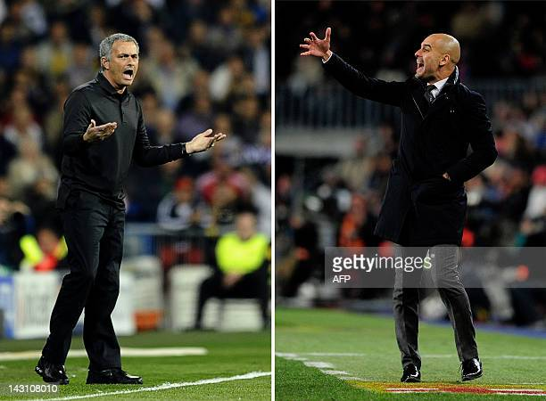 This combo picture made on April 19 2012 shows Real Madrid's Portuguese coach Jose Mourinho gesturing during the UEFA Champions League round of 16...