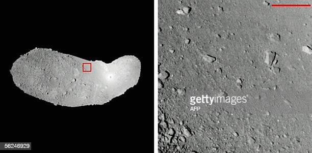 This combo picture released from Japan Aerospace Exploration Agency 19 November 2005 shows the bean shaped Itokawa asteroid and its surface 290...