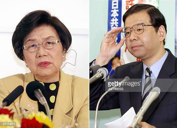 This combo picture shows Social Democratic Party leader Takako Doi and Japanese Communist Party leader Kazuo Shiiin talk at their parties'...