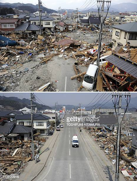 This combo picture shows tsunami destruction and debris covering the road in Ofunato city Iwate prefecture on March 14 threedays after the tsunami...