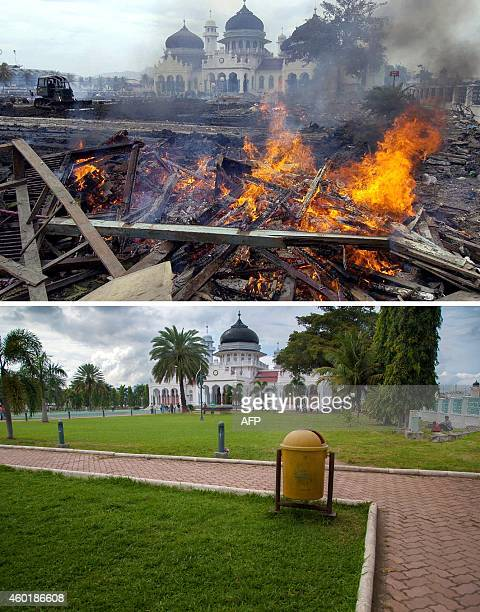 This combo shows a file photo taken on December 30 2004 of workers burning debris as they clean up downtown Banda Aceh on Indonesia's Sumatra island...