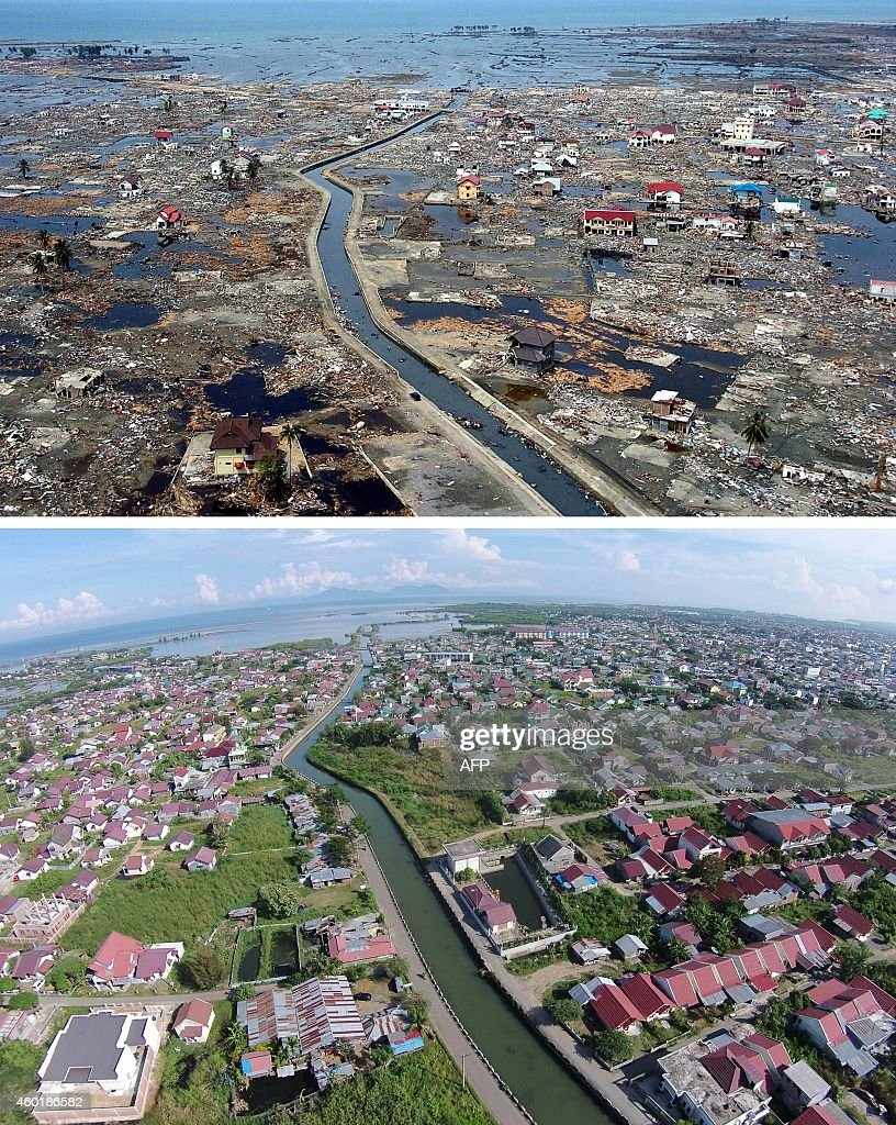 This combo shows a file photo taken on January 5 2005 of the devastated district of Banda Aceh in Aceh province located on Indonesia's Sumatra island...