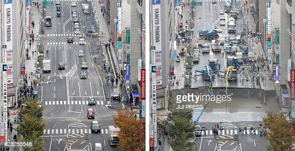 This combo shows a photo of a giant sinkhole measuring around 30 metres wide and 15 metres deep which appeared in a fivelane street in the middle of...