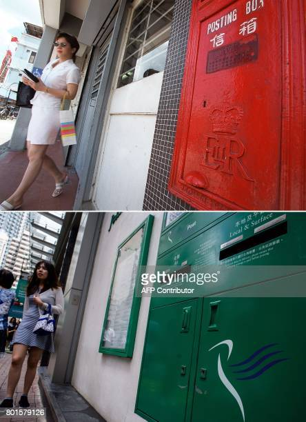 This combo shows a photo taken on June 25 1997 of a woman leaving a satellite post office still bearing the British seal on the outside drop box in...
