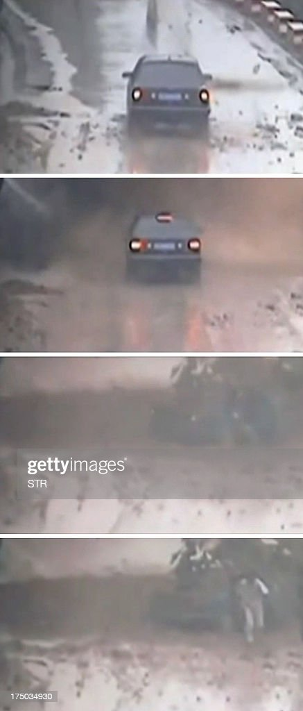 This combo shows a series of screen grabs taken from footage in the Chinese city of Yan'an in Shaanxi province obtained by AFPTV on July 30 2013 of a...