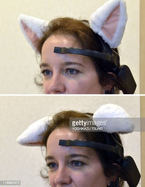 This combo shows an AFP journalist wears a headset with cat ears called 'Necomimi' with ears perked up and laying flat which can be controlled by a...