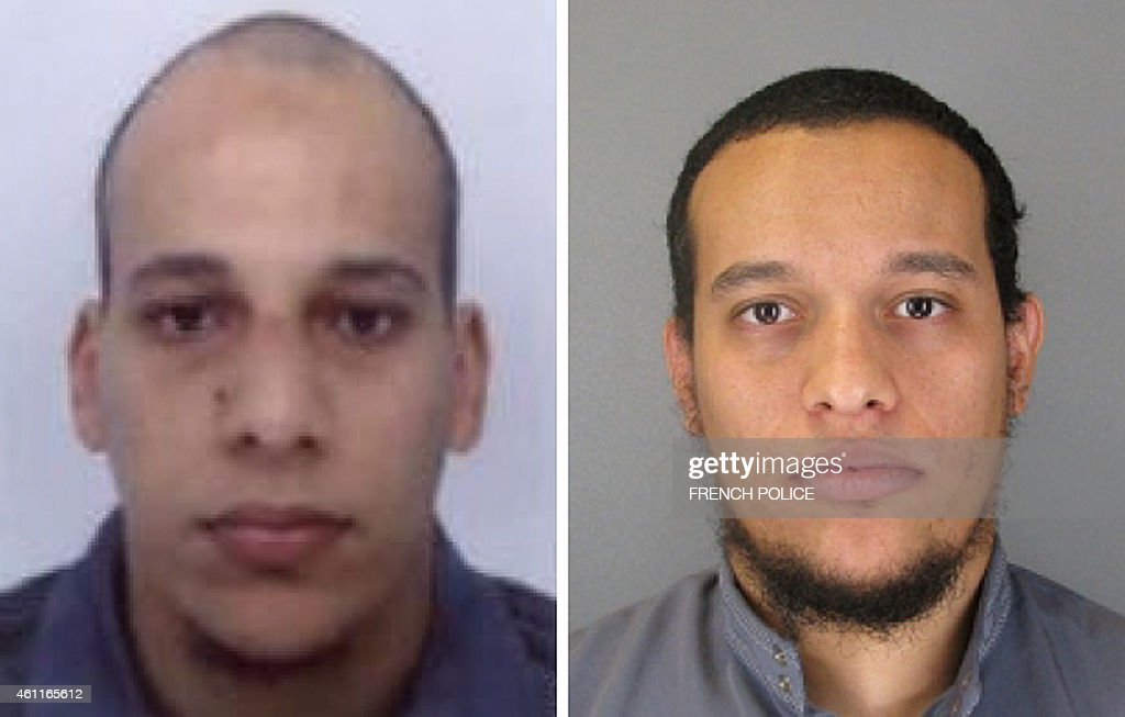 This combo shows handout photos released by French Police in Paris early on January 8 2015 of suspects Cherif Kouachi aged 32 and his brother Said...