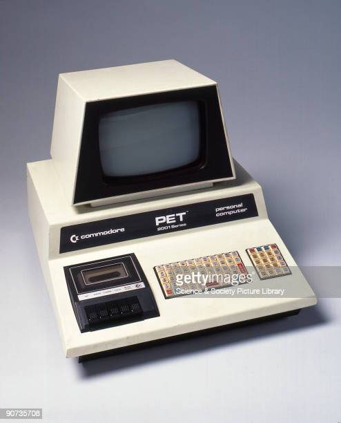 This Commodore Pet 2001 Series personal computer has an integral system box monitor and keyboard The latter is a 'Chiclet' or calculatorstyle...