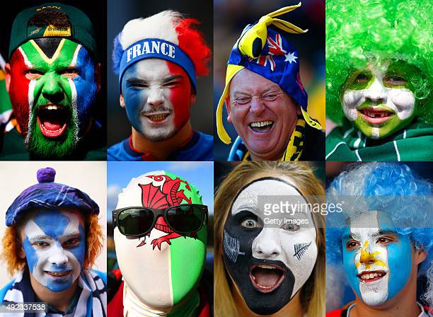 This composite image shows a fan from each of the 8 national rugby union teams competing in the Quarter Finals of the Rugby World Cup 2015 in England