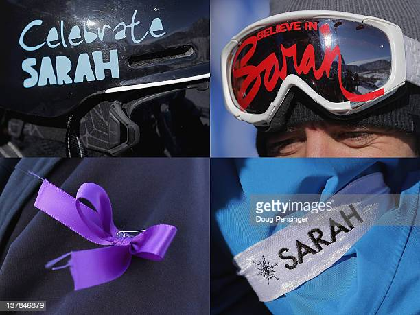 This composite image shows a number of ways competitors adorned themselves with items in rememberance of Canadian skier Sarah Burke during Winter X...