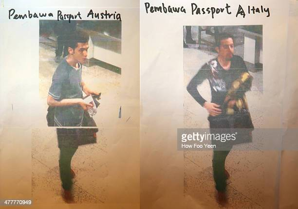 This composite of images #477770285 shows cctv imagery released by police of an Iranian suspect Pouria Nour Mohammad Mehrdad who was travelling on...