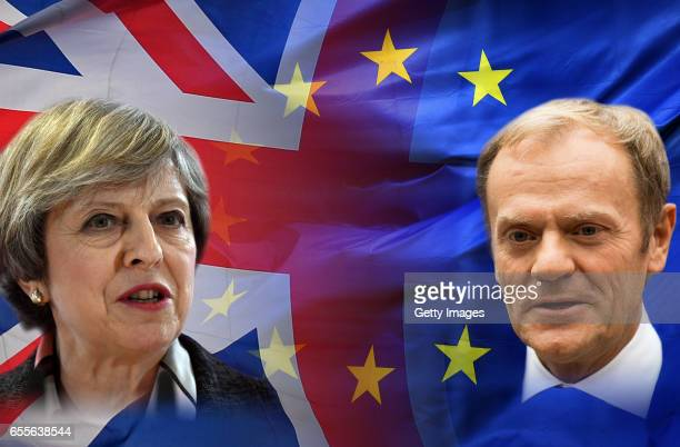 This composite photo illustration of images 650515622 650331660651120206 shows British Prime Minister Theresa May and President of the European...