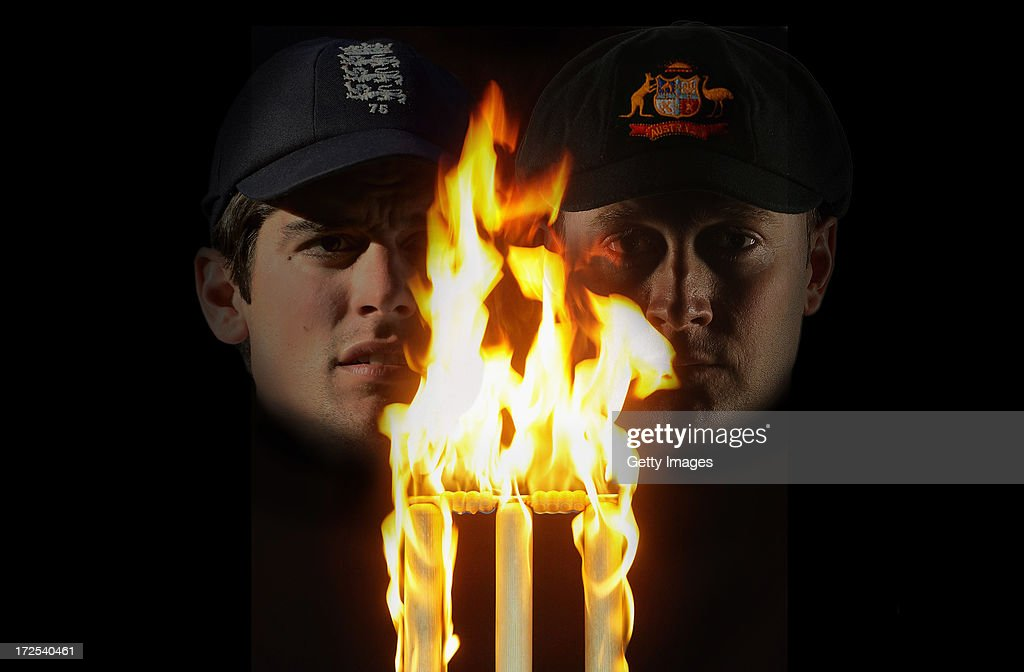 UNSPECIFIED - This composite photo illustration shows England captain <a gi-track='captionPersonalityLinkClicked' href=/galleries/search?phrase=Alastair+Cook+-+Joueur+de+cricket&family=editorial&specificpeople=571475 ng-click='$event.stopPropagation()'>Alastair Cook</a> (L) and Australia captain <a gi-track='captionPersonalityLinkClicked' href=/galleries/search?phrase=Michael+Clarke+-+Joueur+de+cricket&family=editorial&specificpeople=175853 ng-click='$event.stopPropagation()'>Michael Clarke</a>. The two captains will lead their respective countries in the upcoming Investec Ashes test match series, the first of which starts at Trent Bridge on July 10, 2013 in Nottingham, England.