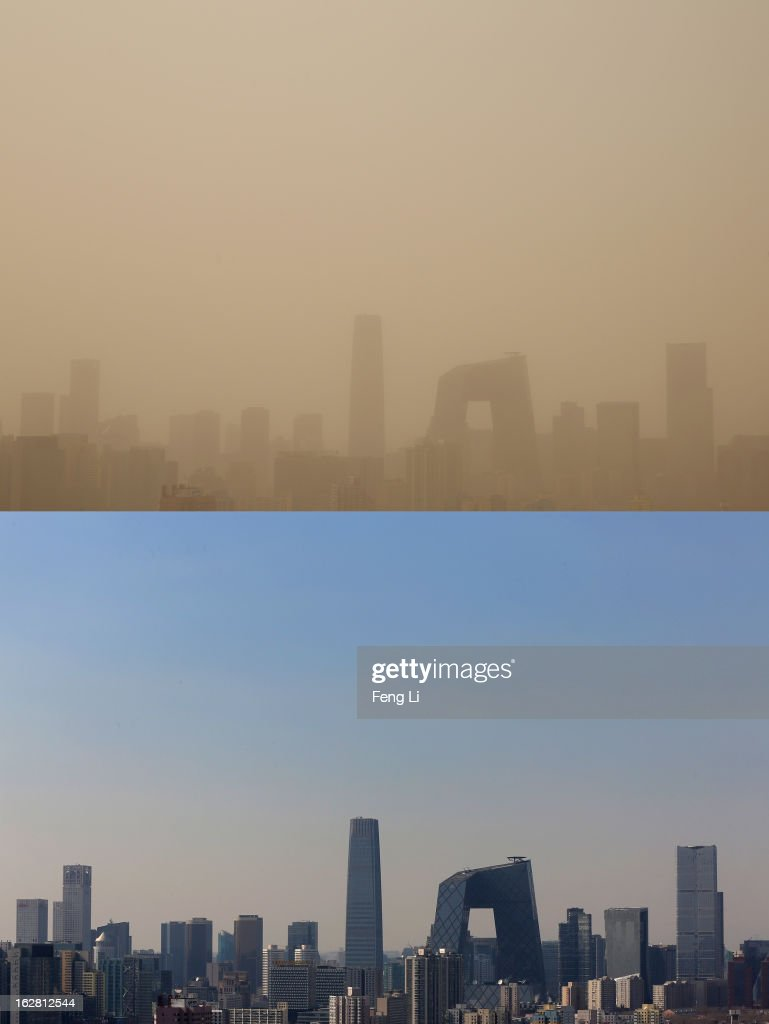 This composite photograph shows the skyscrapers during the sandstorm on February 28 and the blue sky on February 19, 2013 in Beijing, China. Beijing was hit by its first sandstorm of the year while its air quality reached dangerous level on Thursday.
