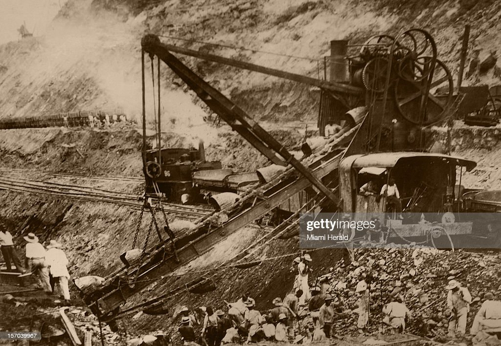 This copy of a photograph shows a large steam shovel excavating the channel of the Panama Canal.