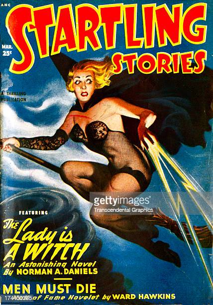 This cover for Adventure magazine featuring a witch in flight is produced for March 1946 in New York City
