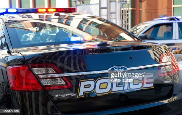 This December 13 2012 photo shows a police cruiser during an event at the US Department of Transportation in Washington DC AFP PHOTO/Karen BLEIER