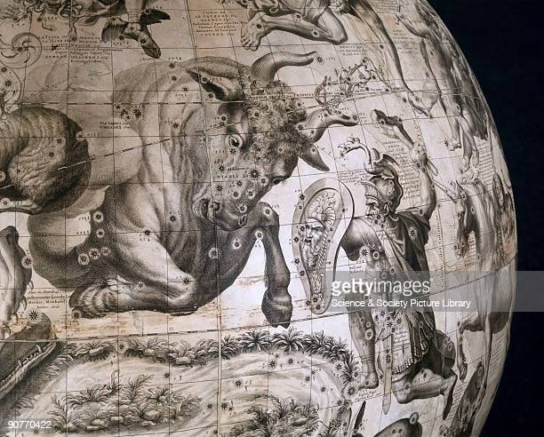 This detail centred on the constellations of Taurus is from a large celestial globe assembled in Paris France by Charles Delagrave The engraved star...