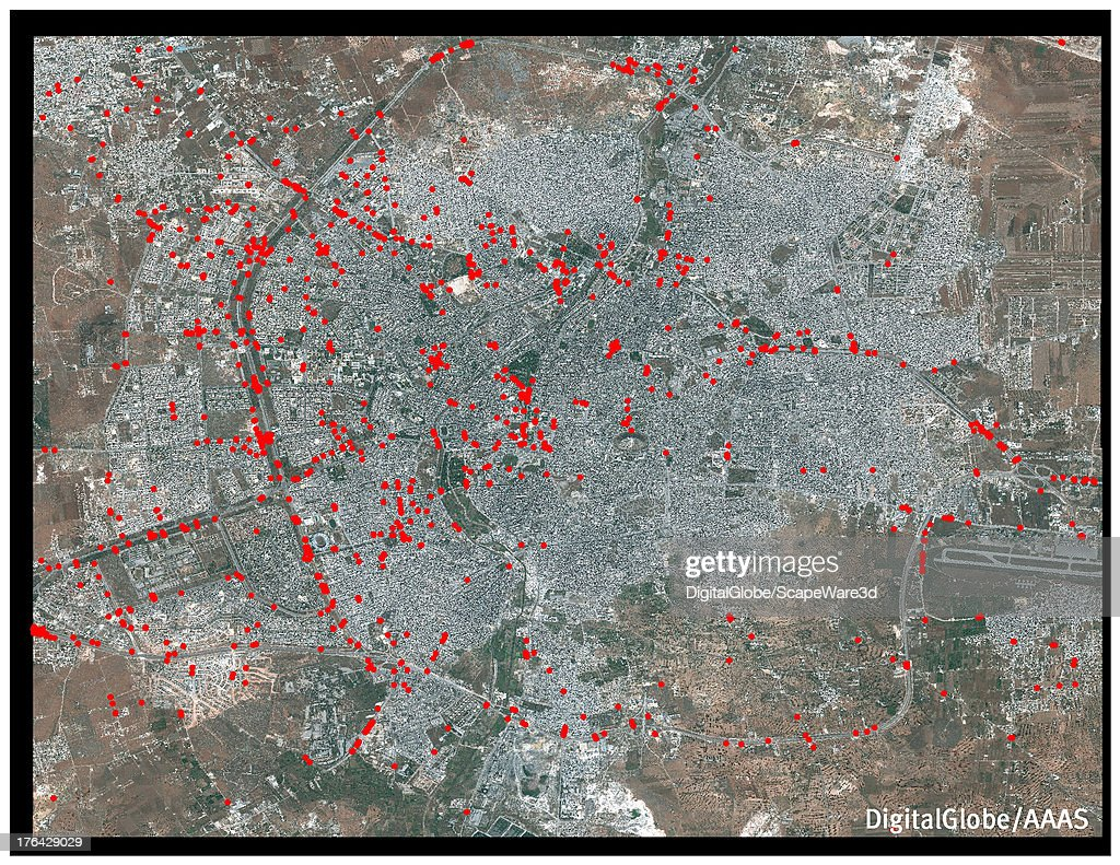 This DigitalGlobe overview satellite image of Aleppo, Syria contains analysis from the American Association for the Advancement of Science that shows the proliferation of roadblocks within the city, with 1,171 roadblocks visible on 26 May 2013.