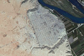 This DigitalGlobe satellite image documents the scale of destruction that looters continue to inflict on archaeological heritage sites during the...