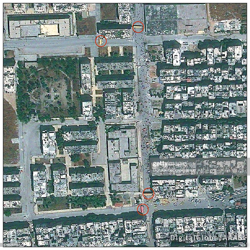 This DigitalGlobe satellite image of Aleppo, Syria, collected 26 May 2013 and analyzed by the American Association for the Advancement of Science, shows the use of vehicles as roadblocks, which were found in many locations throughout the city.