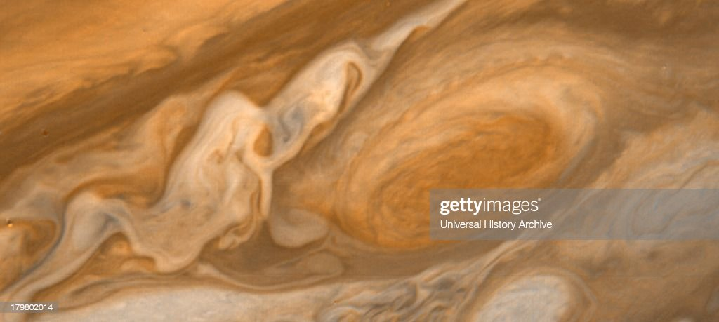 This dramatic view of Jupiter's Great Red Spot and its surroundings was obtained by Voyager 1 on Feb. 25, 1979.