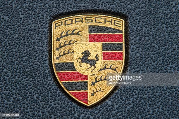 This fiel picture taken on November 3 2015 at Porche headquarters in Stuttgart shows a logo of Porsche Cayenne Berlin orders recall of 30000 Porsches...