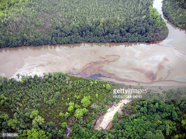 This file aerial picture taken 30 March 2003shows an oil spill which pollutes a waterway in Nigeria's Niger Delta near the Escravos export terminal...