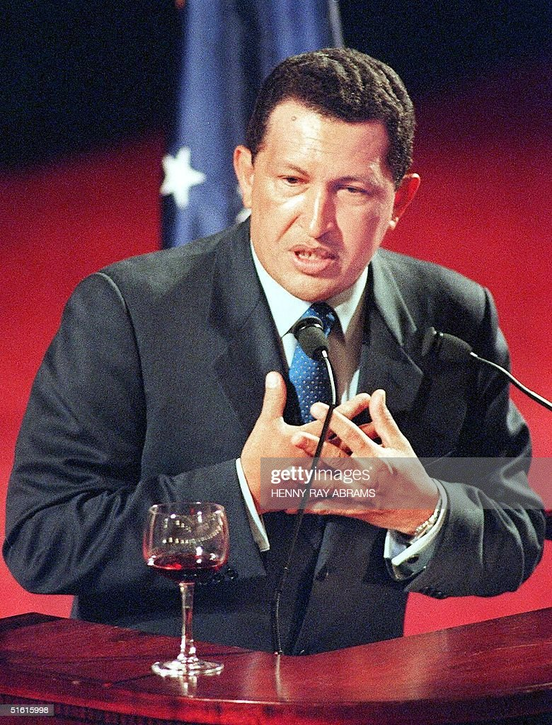 This file photo daed 09 June, 1999, shows Venezuelan president Hugo Chavez speaking to an assembly in New York. Chavez faces opposition in Venezuela from forces wanting to change the political structure of the nation. AFP PHOTO/Henny Ray Abrams