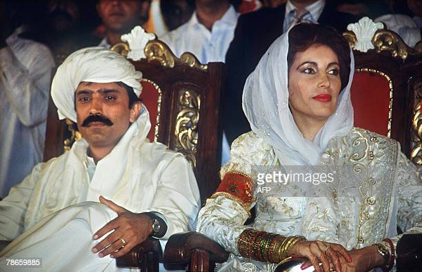 This file photo dated 18 December 1987 shows Pakistani People's Party leader Benazir Bhutto getting married with Asif Ali Zardari in Karachi Benazir...
