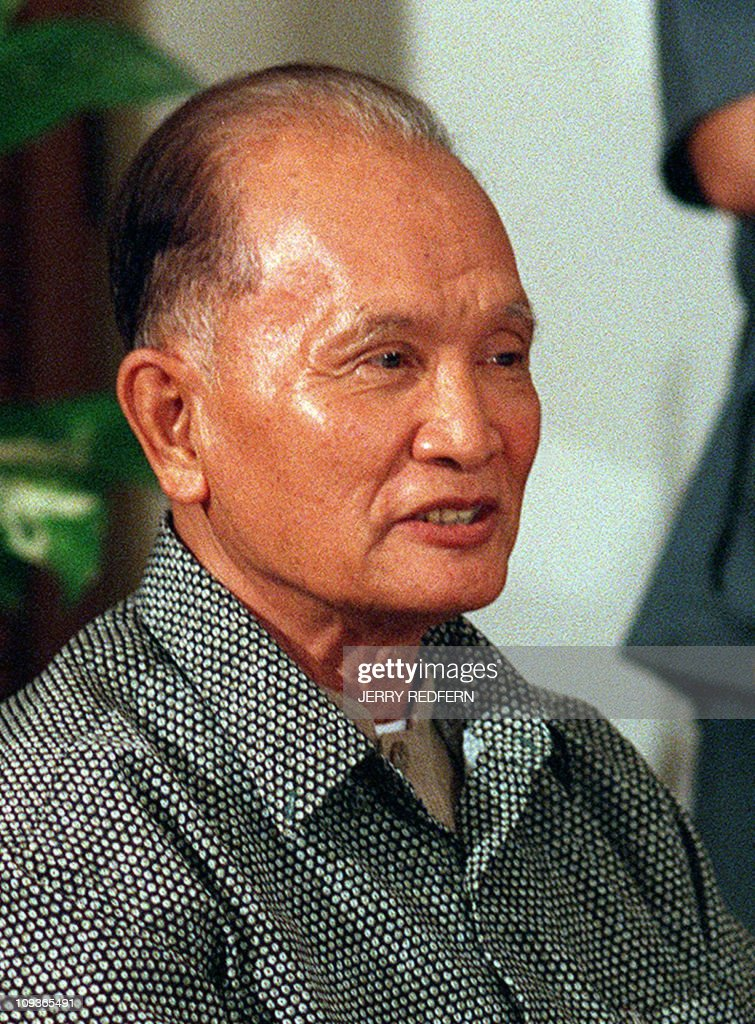 This file photo dated 29 December, 1998 shows former Khmer Rouge leader <a gi-track='captionPersonalityLinkClicked' href=/galleries/search?phrase=Nuon+Chea&family=editorial&specificpeople=767256 ng-click='$event.stopPropagation()'>Nuon Chea</a> speaking at a press conference at the Royal Phnom Penh hotel in the capital. Top Khmer Rouge leader <a gi-track='captionPersonalityLinkClicked' href=/galleries/search?phrase=Nuon+Chea&family=editorial&specificpeople=767256 ng-click='$event.stopPropagation()'>Nuon Chea</a> was formally charged 19 September, 2007 with war crimes and crimes against humanity, a spokesman for Cambodia's UN-backed genocide tribunal told AFP.