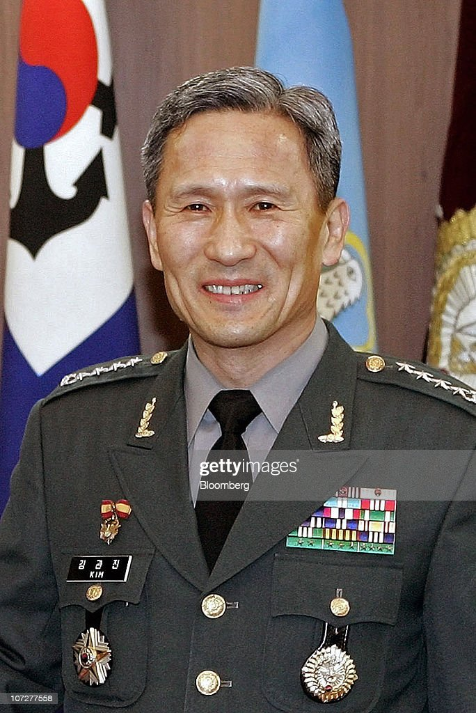 This file photo taken on April 13, 2007 shows Gen. <a gi-track='captionPersonalityLinkClicked' href=/galleries/search?phrase=Kim+Kwan-Jin&family=editorial&specificpeople=4112030 ng-click='$event.stopPropagation()'>Kim Kwan-Jin</a>, chairman of the South Korean Joint Chiefs of Staff, at the Defense Minstry in Seoul. South Korea on November 26, 2010 named <a gi-track='captionPersonalityLinkClicked' href=/galleries/search?phrase=Kim+Kwan-Jin&family=editorial&specificpeople=4112030 ng-click='$event.stopPropagation()'>Kim Kwan-Jin</a>, former chairman of the Joint Chiefs of Staff, as defence minister, a presidential spokesman said, after the previous incumbent resigned over North Korea's artillery attack.