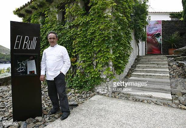 This file pictuire dated June 16 2007 shows Spanish Chef Ferran Adria posing in front of El Bulli restaurant in Roses northern Spain El Bulli the...