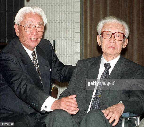 This file picture dated 20 October 1992 shows Akio Morita the business tycoon who cofounded the electronics giant Sony Corp and his partner Masaru...