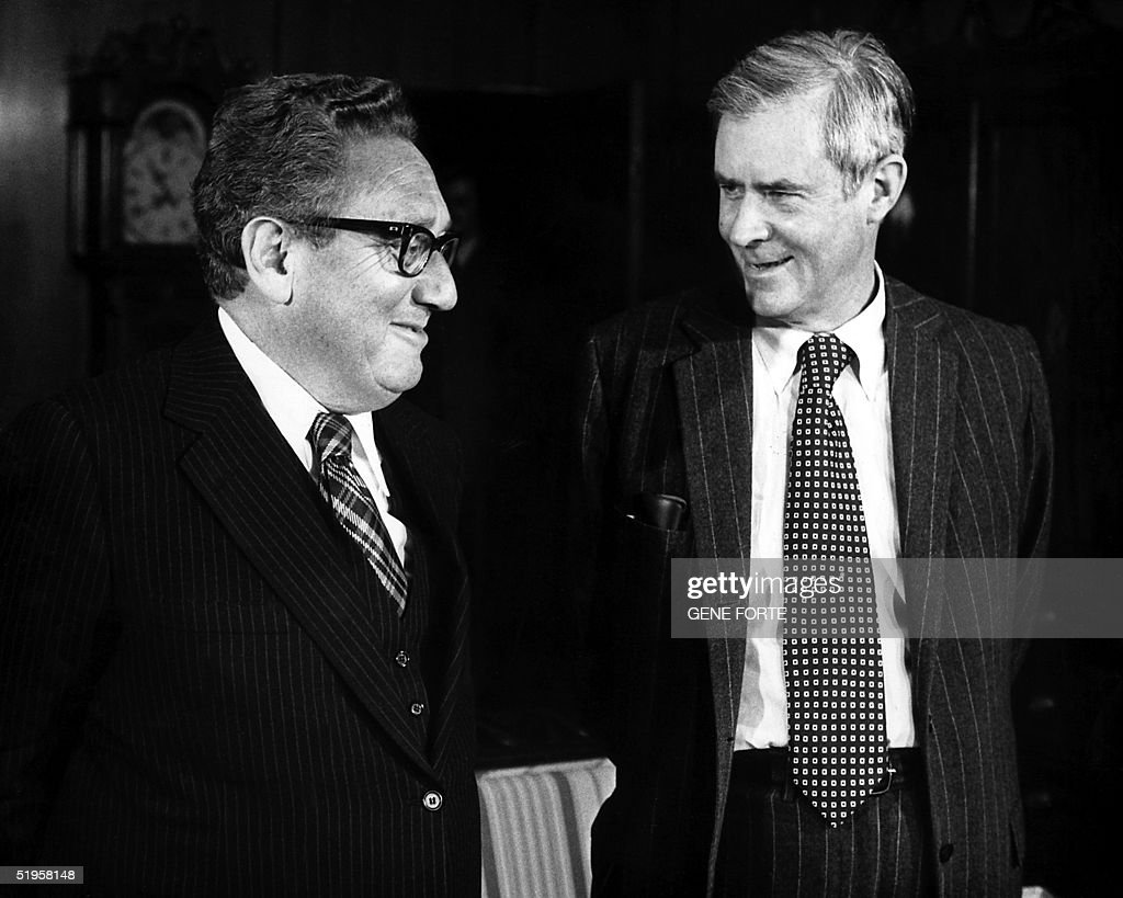 This file picture taken 15 December 1976 shows Secretary of State Henry Kissinger (R) meeting with Secretary of State Designate Cyrus Vance on the transition of the government. Vance died 12 January 2002 at the age of 84 after suffering from Alzheimer 's disease. Vance, who was named Secretary of State by President Jimmy Carter became the administration's point man in the Camp David negotiations which resulted in a historic peace treaty between Israel and Egypt. Vance quit the job in April 1980 to protest Carter's use of force in an attempt to free Americans held hostages in Iran. AFP PHOTO