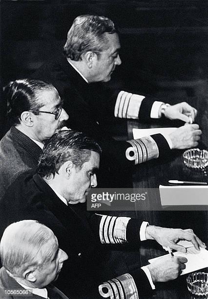 This file picture taken in Buenos Aires September 1985 shows Armando Lambruchini Jorge Rafael Videla Emilio Eduardo Massera and Omar Rubens Graffigna...