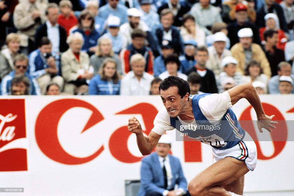 This file picture taken on August 13,1983 during the Athletics Championships in Helsinki shows Italian athlete Pietro Mennea crossing the finish line of the men's 200m. Mennea died on March 21, 2013 in Rome at the age of 61 following a long illness.