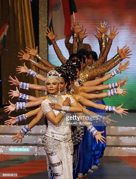 This file picture taken on August 17 2008 shows Indian actress Rakhi Sawant performing at Rajiv Gandhi Awards cermony in Mumbai They were once a...