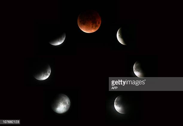 This file picture taken on February 21 2008 is combo picture of seven images showing various stages of the lunar eclipse as seen in Sofia Weather...