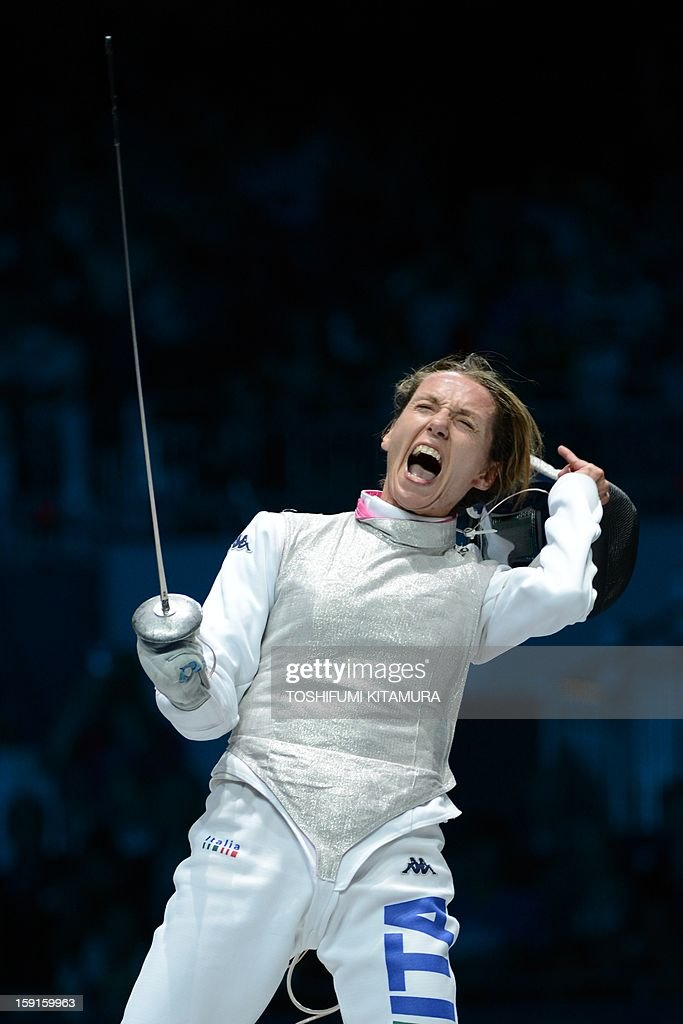 This file picture taken on July 28, 2012 at the ExCel centre in London during the 2012 London Olympics shows Italian fencer Valentina Vezzali during the women's foil final as part of the fencing event . Vezzali will be on Italian Prime Minister Mario Monti's list of candidates for seats in parliament at the February 2013 general elections.
