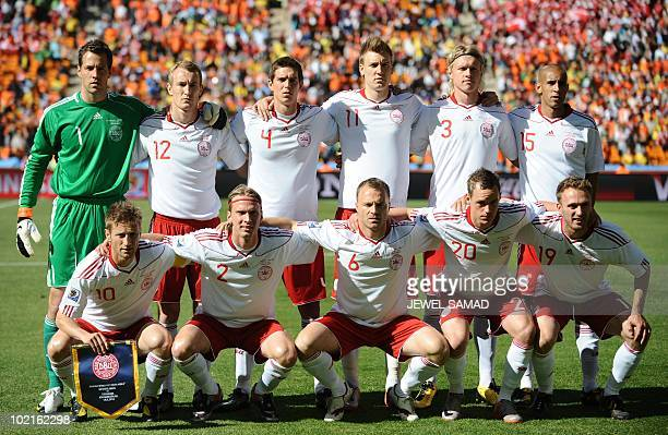 This file picture taken on June 14 2010 at Soccer City stadium in Soweto suburban Johannesburg shows Denmark's national football team players...
